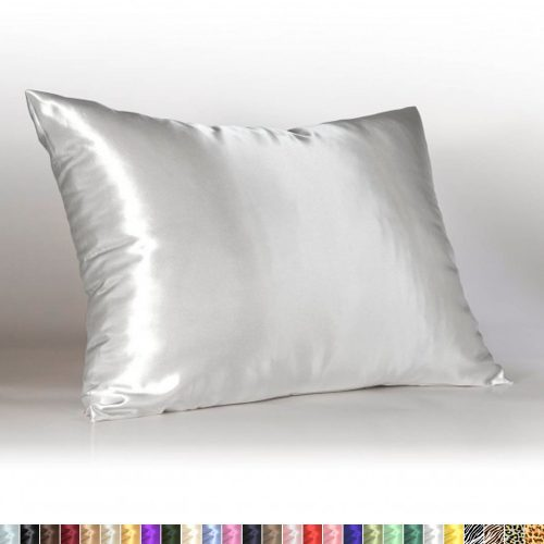 Sweet Dreams Luxury Satin Pillowcase with Zipper, Standard Size, White (Silky Satin Pillow Case for Hair) By Shop Bedding-Silk Pillowcases