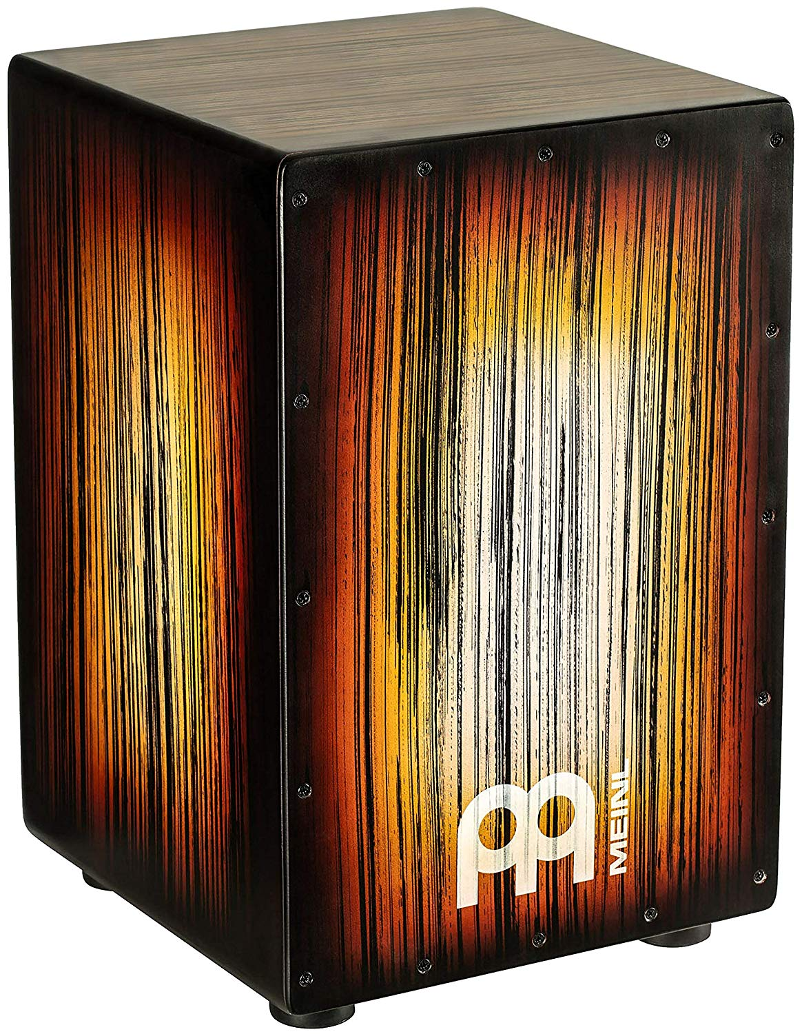 Meinl Percussion Cajon Box Drum with Internal Metal Strings for Adjustable Snare Effect-NOT Made in China - Amber Tiger Stripe Full Size, 2-YEAR WARRANTY HCAJ2AMTS