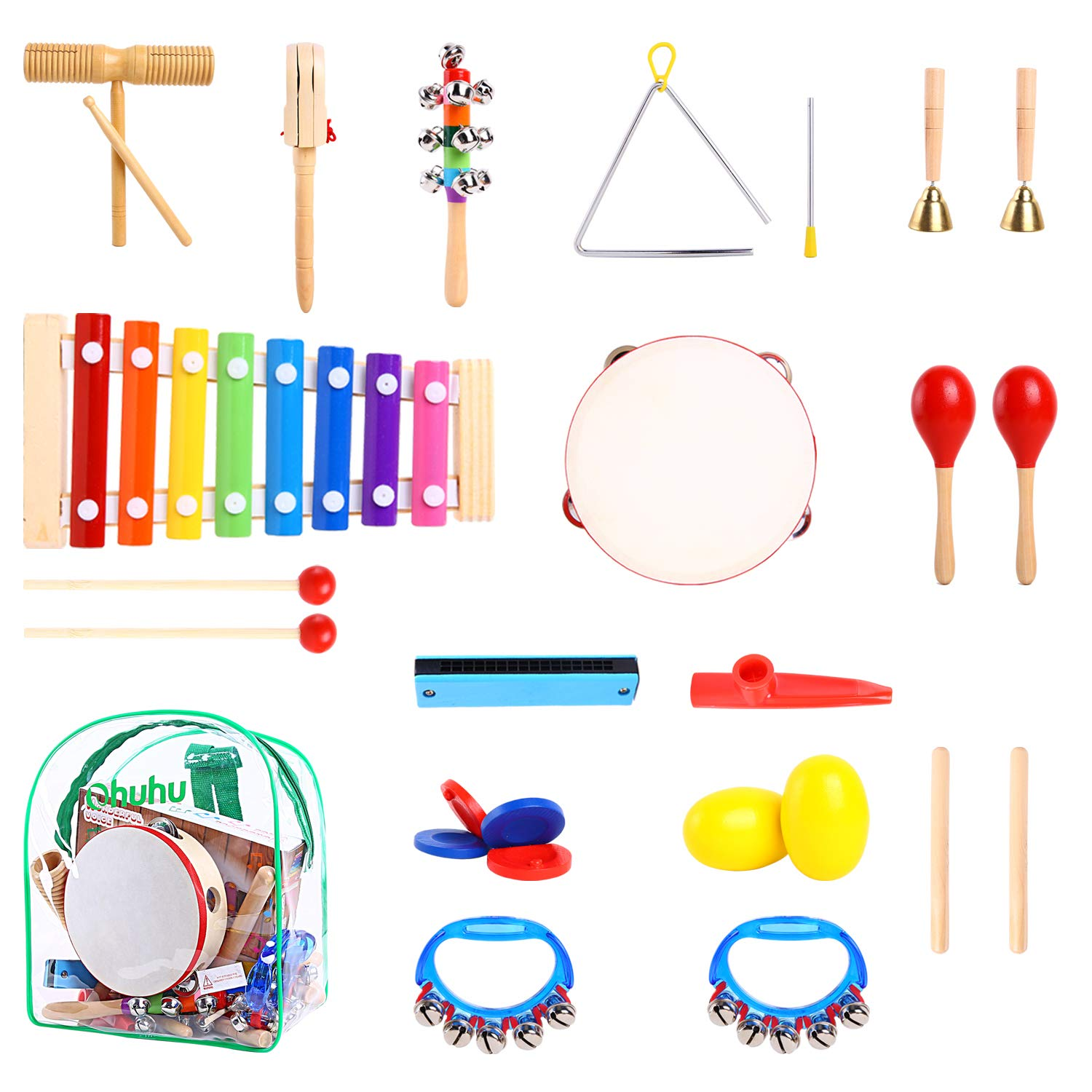 Ohuhu Kids Musical Instruments, 20 pcs Music Rhythm Percussion Set for Children Kid Toy Tambourine Xylophone, Storage Backpack Included, CPSC Approved, Birthday Xmas Presents