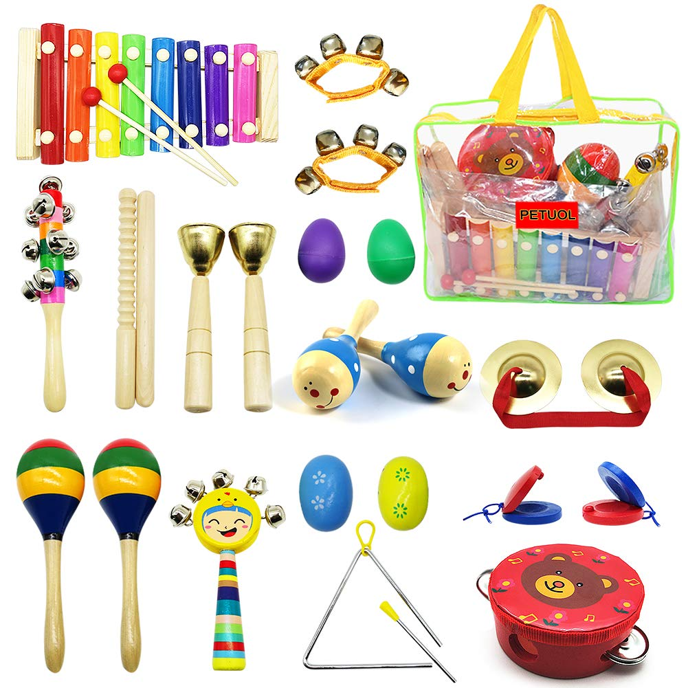 PETUOL Kids Musical Instruments 24pcs Wood Percussion Xylophone Toys for Children Musical Movement-Music Rhythm Percussion Kit for Toddler Boy and Girls Gift