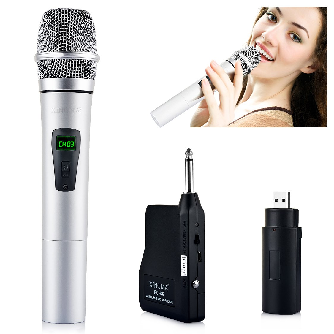 Xingma 6.35mm Interface UHF Rechargeable Handheld Wireless microphones for Singing,Wedding and Seminars