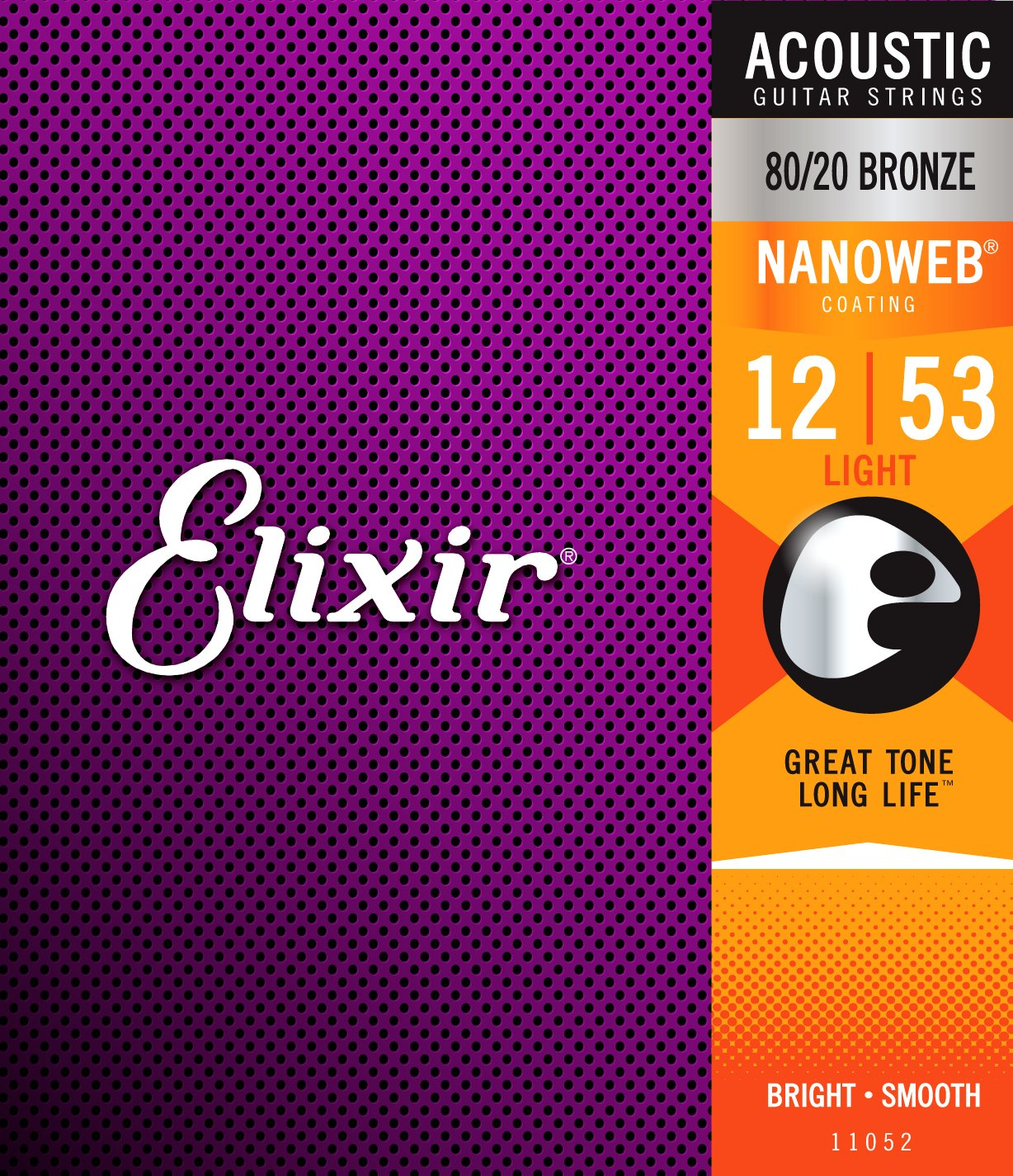 Elixir Strings 80/20 Bronze Acoustic Guitar Strings w NANOWEB Coating, Light (.012-.053)