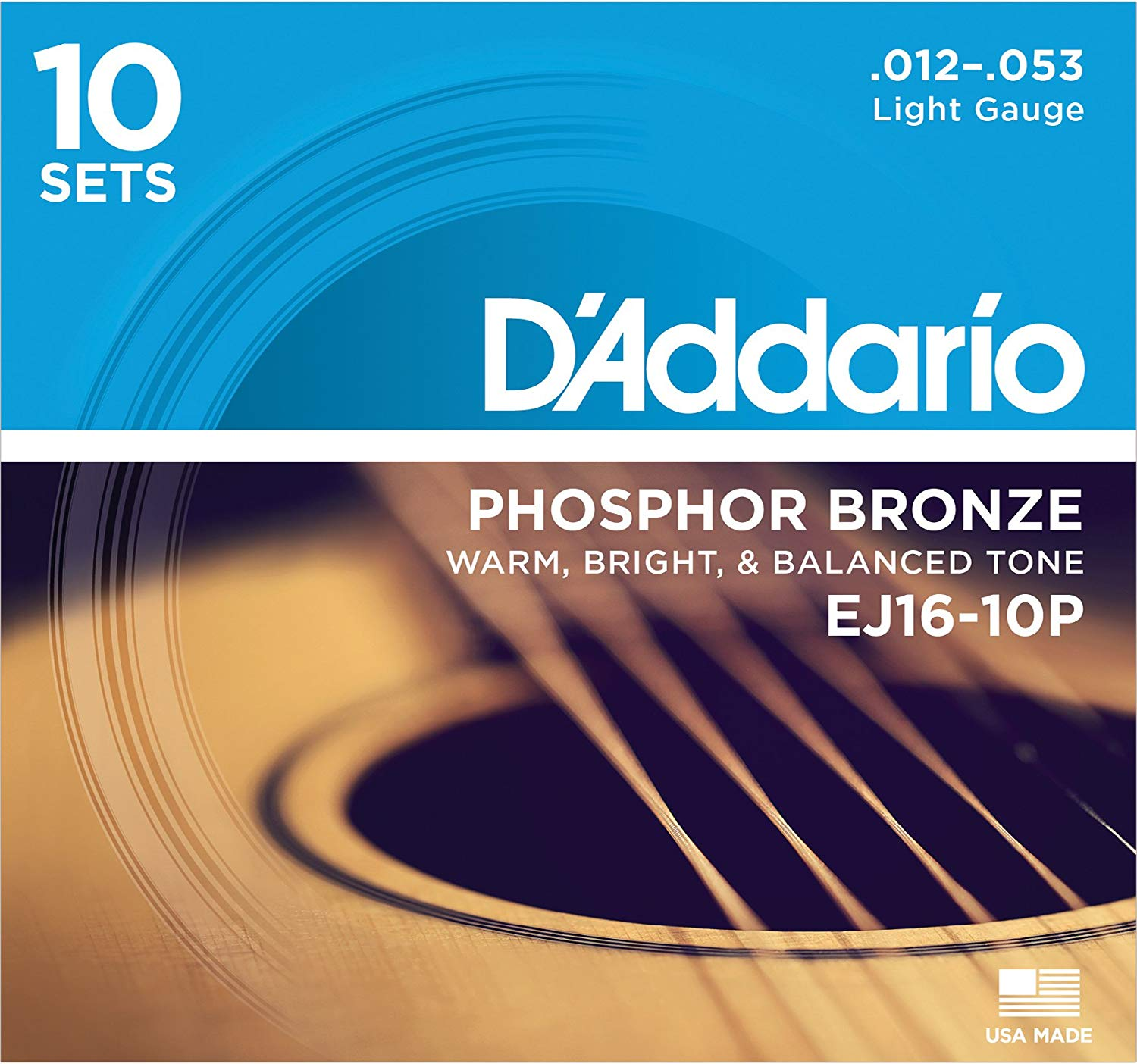 D'Addario EJ16 Phosphor Bronze Acoustic Guitar Strings, Light (10 Pack) – Corrosion-Resistant Phosphor Bronze, Offers a Warm, Bright and Well-Balanced Acoustic Tone and Comfortable Playability