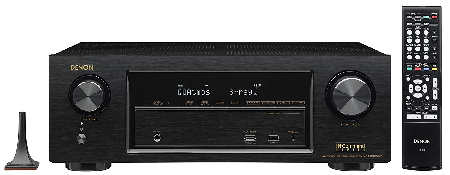 Denon AVR-X1300W-R 7.2 Channel Full 4K Ultra HD AV Receiver with Bluetooth (Certified Refurbished)