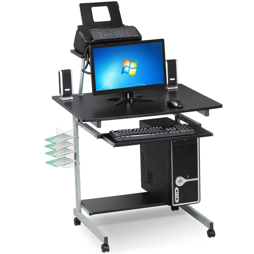 Yaheetech Black Computer Cart Desk