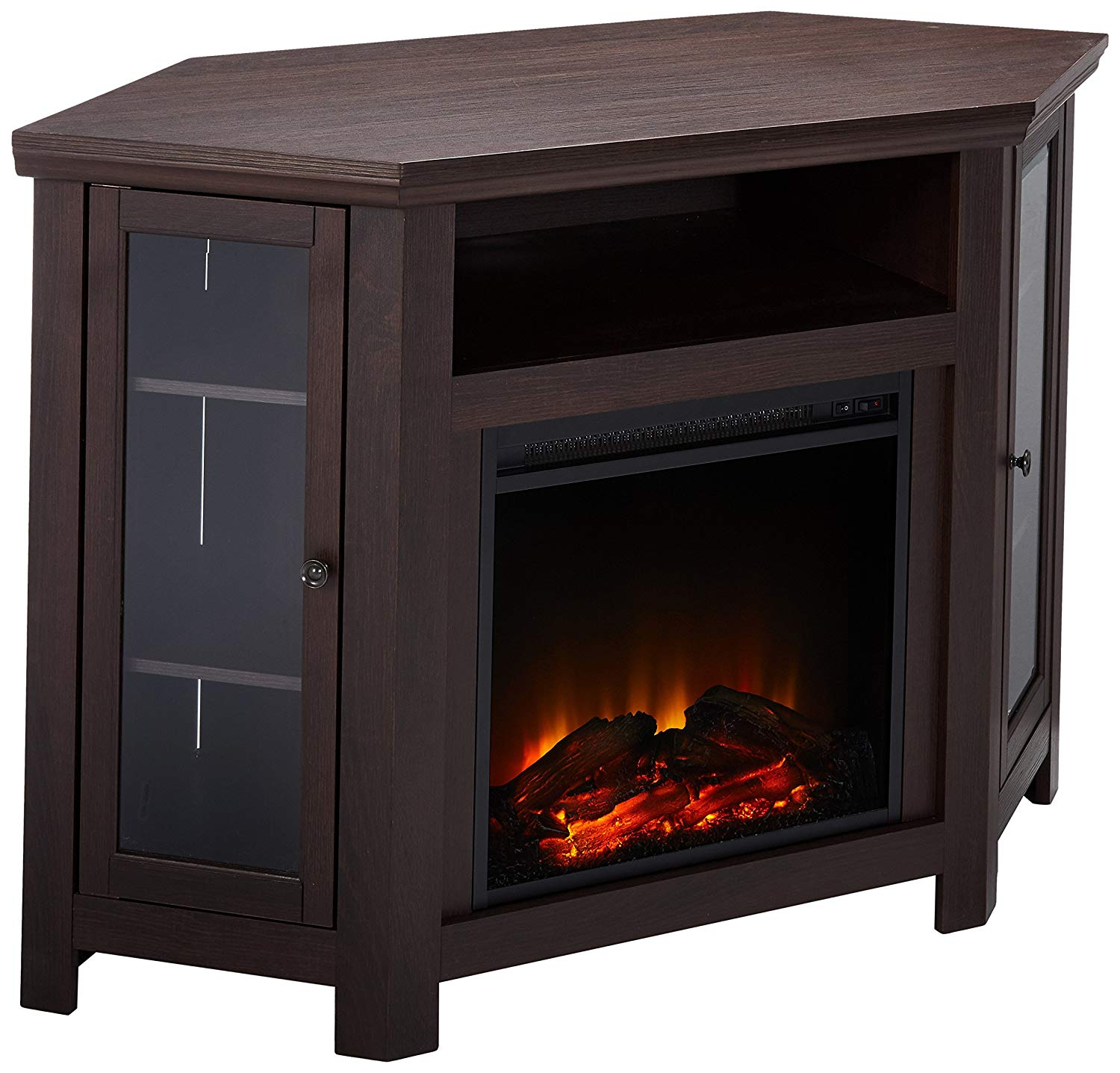 "WE Furniture 48"" Corner TV Stand Fireplace Console, Espresso"