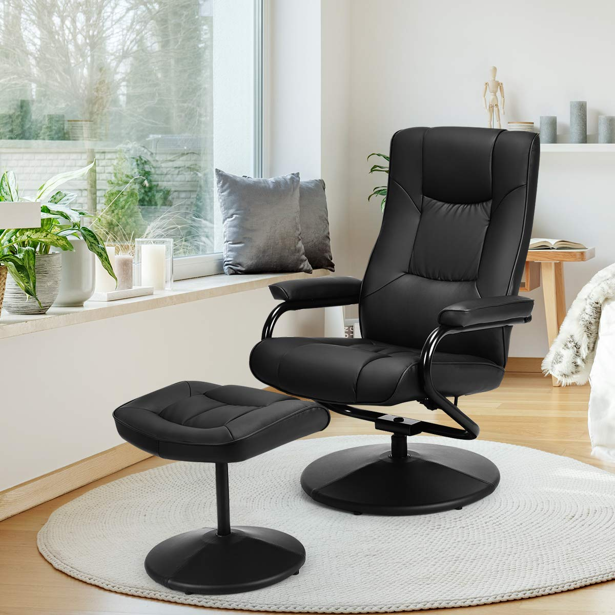 Giantex Swivel Recliner Chair w/Ottoman, 360 Degree Swivel PU Leather Chair