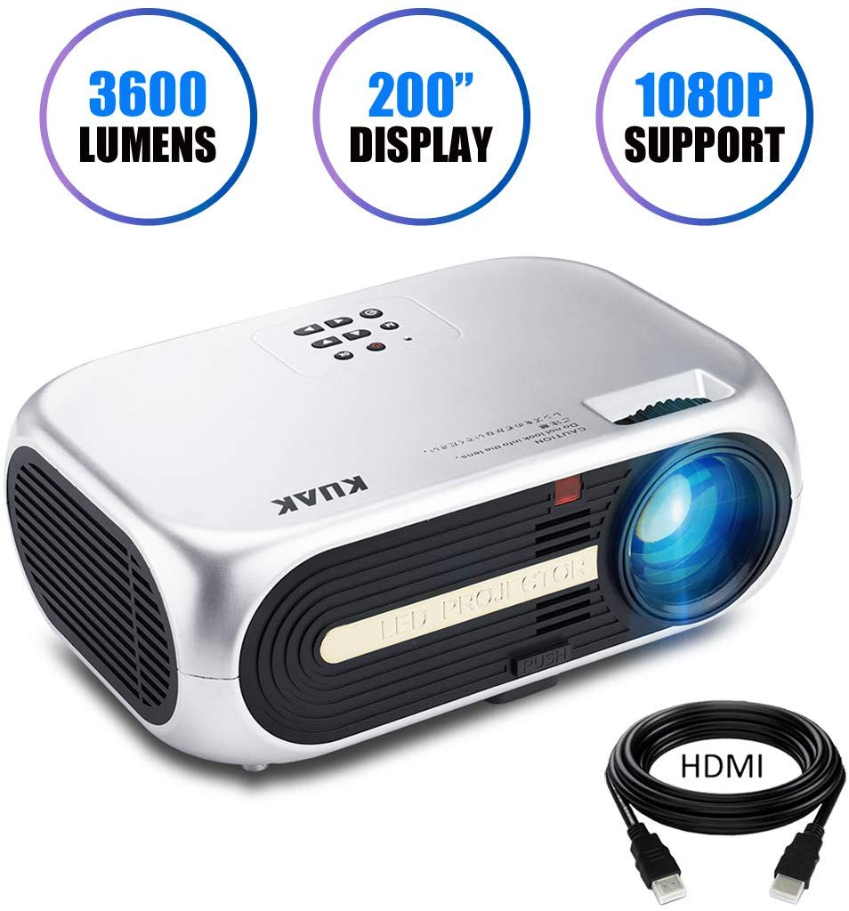 "Projector, KUAK HT60 Home Theater Projector, 5"" LCD Technology, 3600 Lumens HD Movie Projector, LED Video Projector with 200"" Projection Size, Support 1080p 2HDMI 2USB VGA AV"