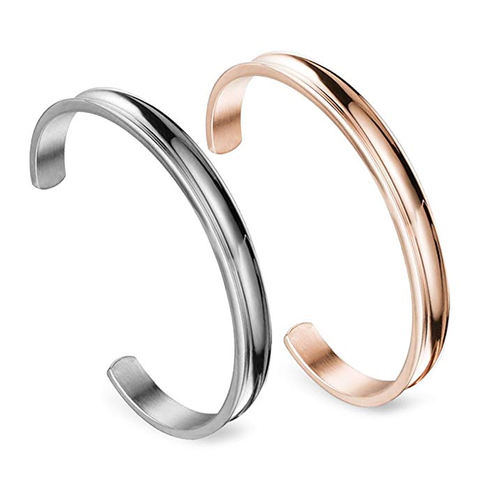 Zuo Bao Stainless Steel Bracelet Grooved Cuff Bangle