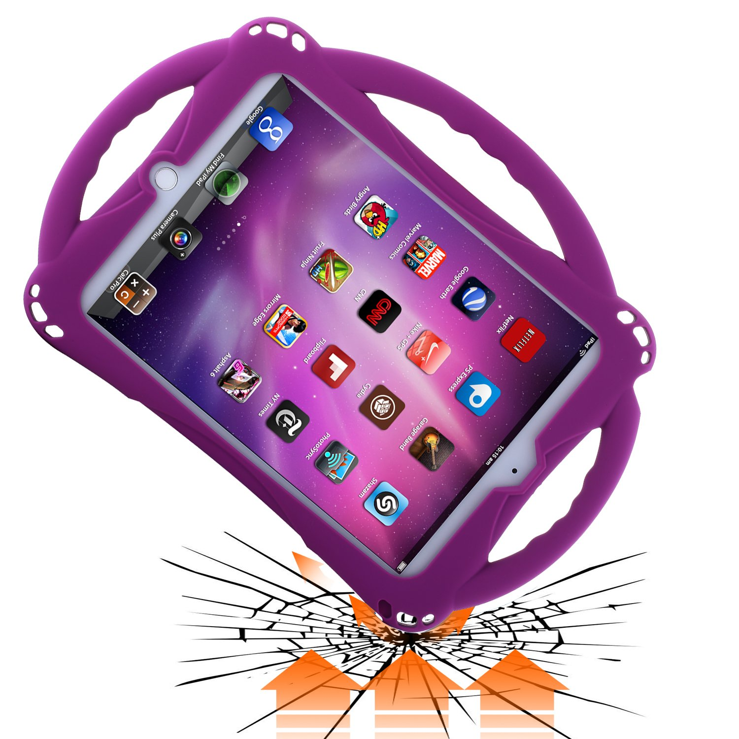 New iPad 2019/2018 9.7 inch Case/iPad Air Case, TopEsct Shockproof Silicone Handle Stand Case Cover&(Tempered Glass Screen Protector) for Apple iPad 9.7inch(2019/2018 Edition) and iPad Air (Purple)