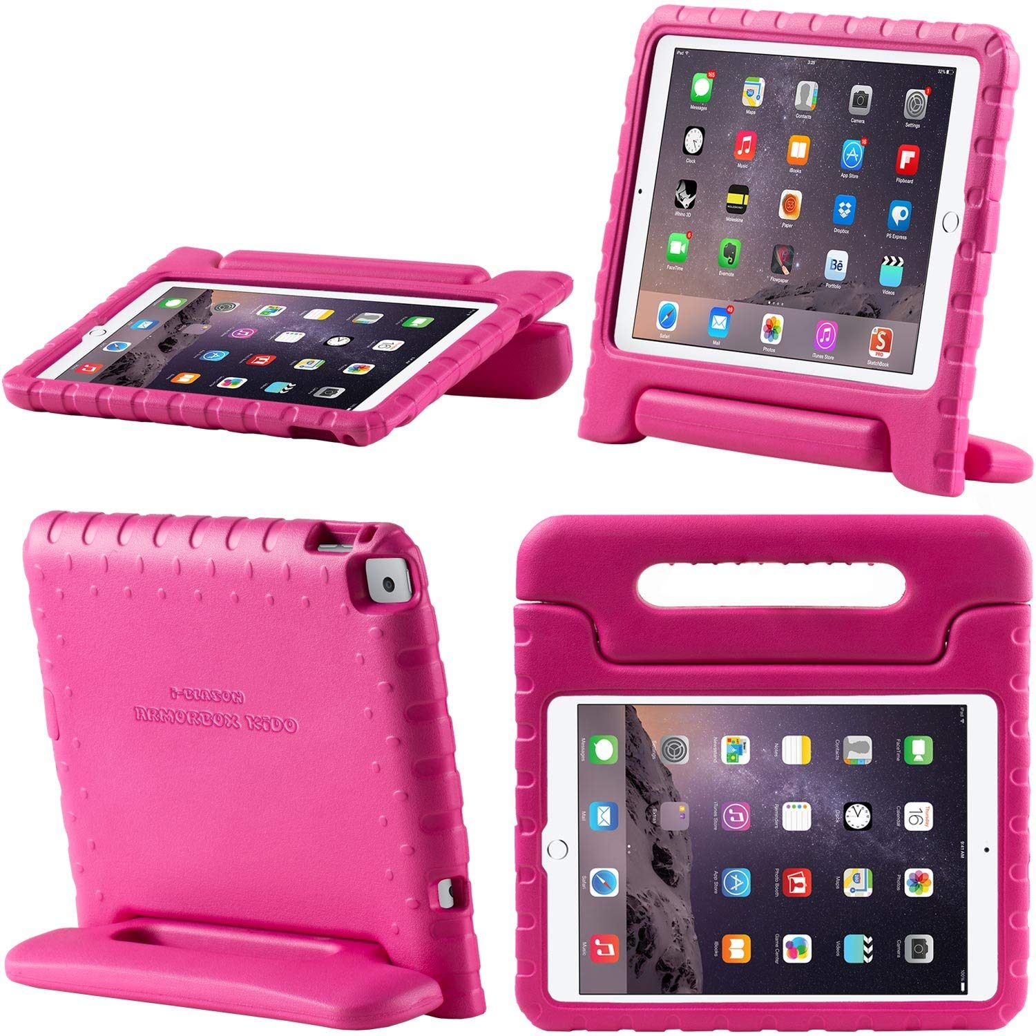 New iPad 9.7 Case 2018 / 2017, i-Blason New Apple iPad 9.7 inch 2017 /2018 Case for Kids [ArmorBox Kido Series] Lightweight Super Protective Convertible Stand Cover (Pink)