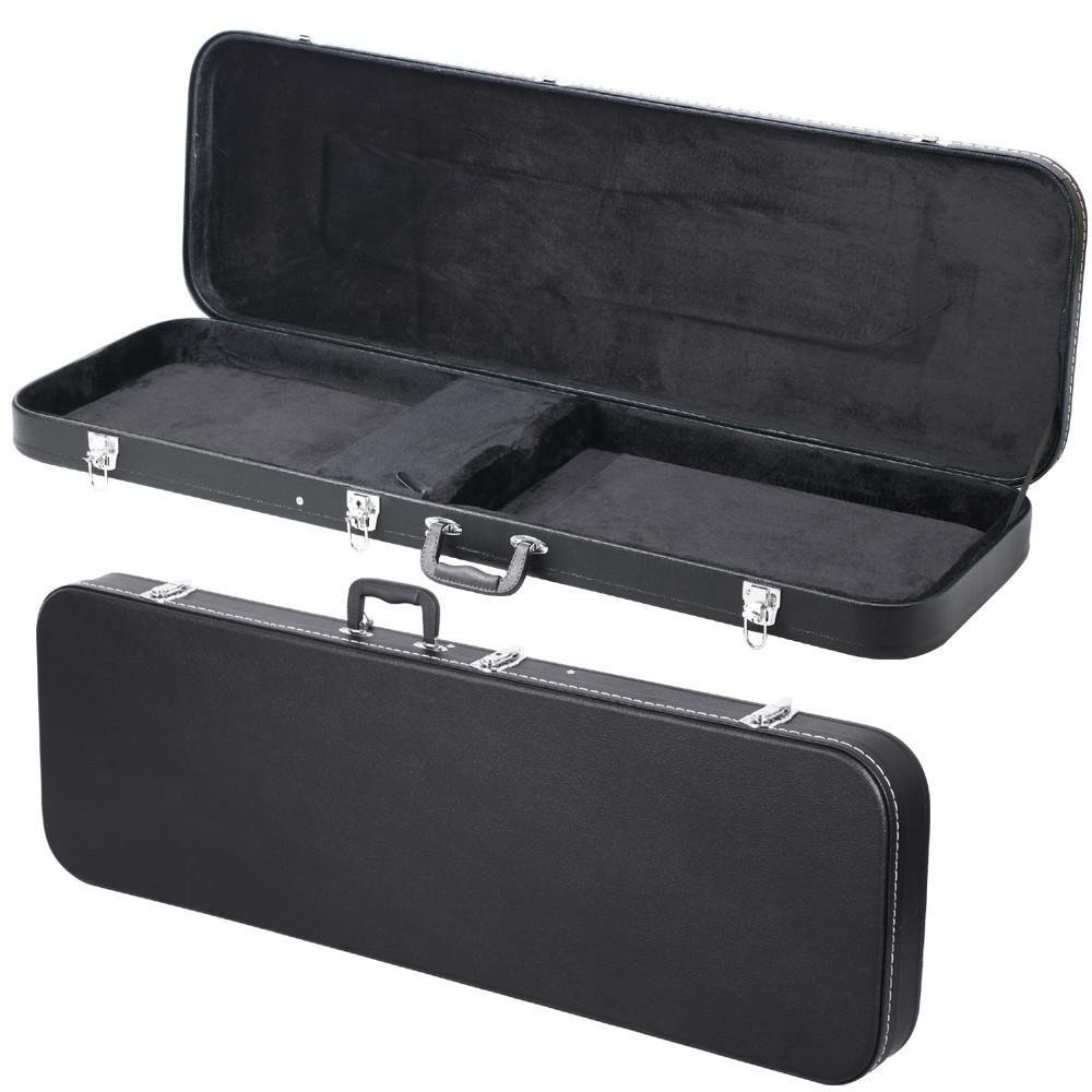 Topeakmart Black Leather Electric Bass Hard Shell Case