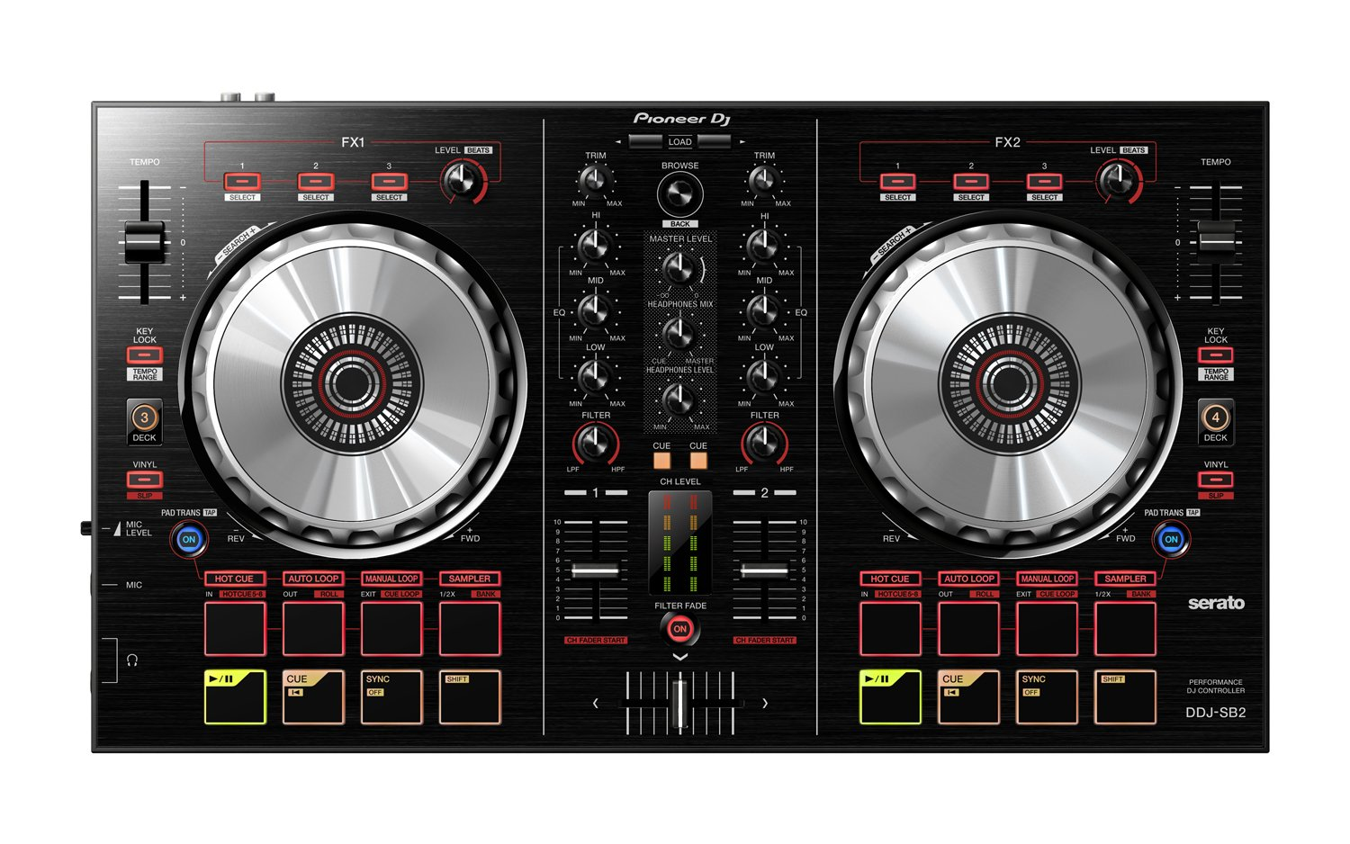 Pioneer DJ DDJ-SB2 Portable 2-channel controller for Serato DJ - DJ Mixers