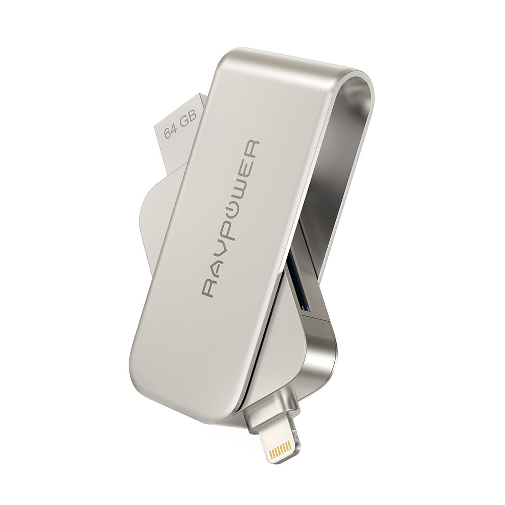 RAVPower 64GB iPhone Flash Drive 2 in 1 SD Card Reader