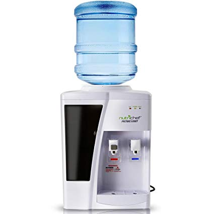 Nutrichef Countertop Water Cooler Dispenser - Hot & Cold Water, with Child Safety Lock. (White)