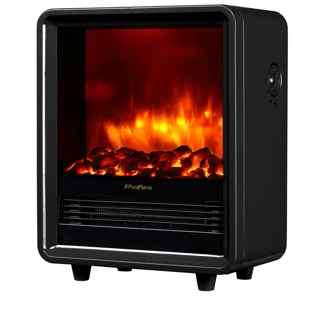 PuraFlame 12 Octavia Portable Electric Fireplace Heater, 1500W, Black - Best Electric FirePlaces