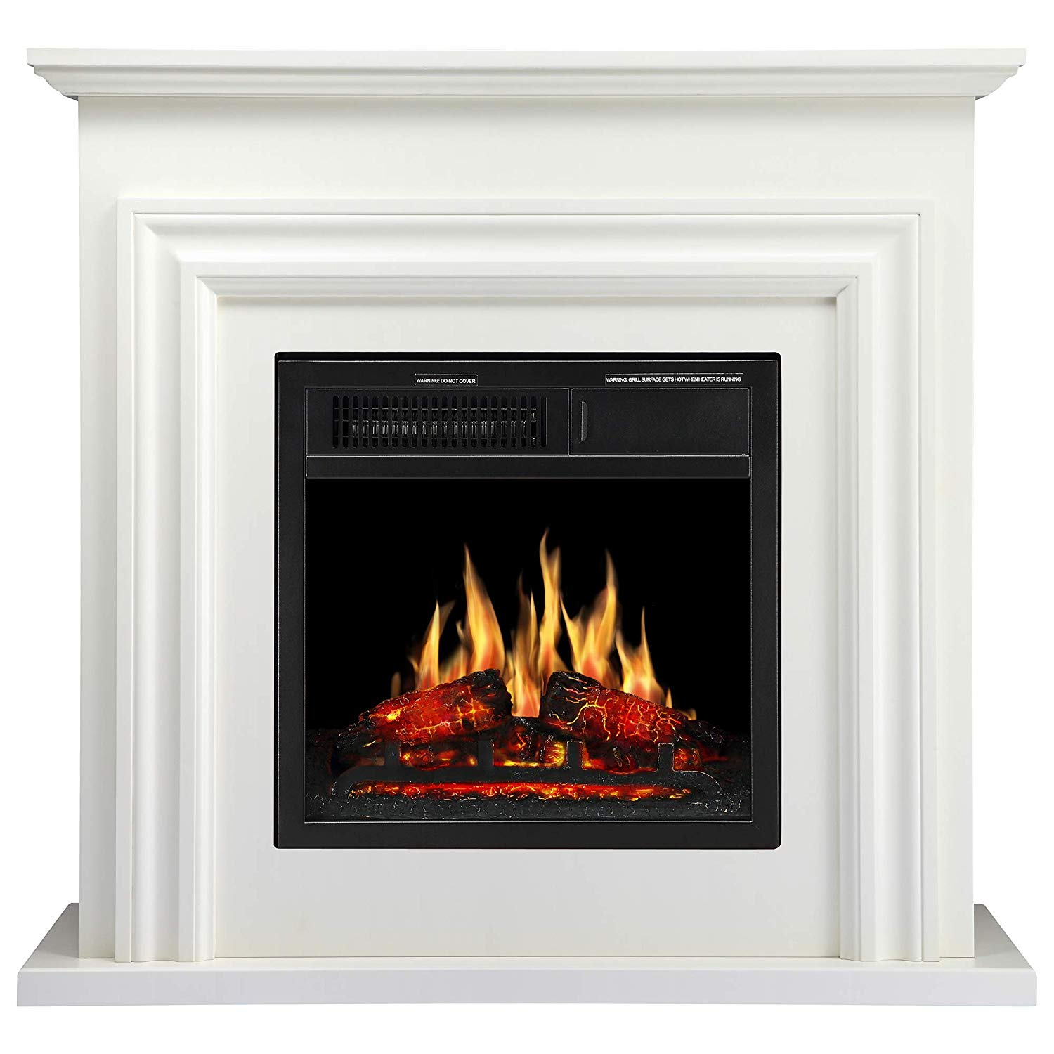 Jamfly 36 Wood Electric Fireplace Mantel Package Freestanding - Best Electric FirePlaces
