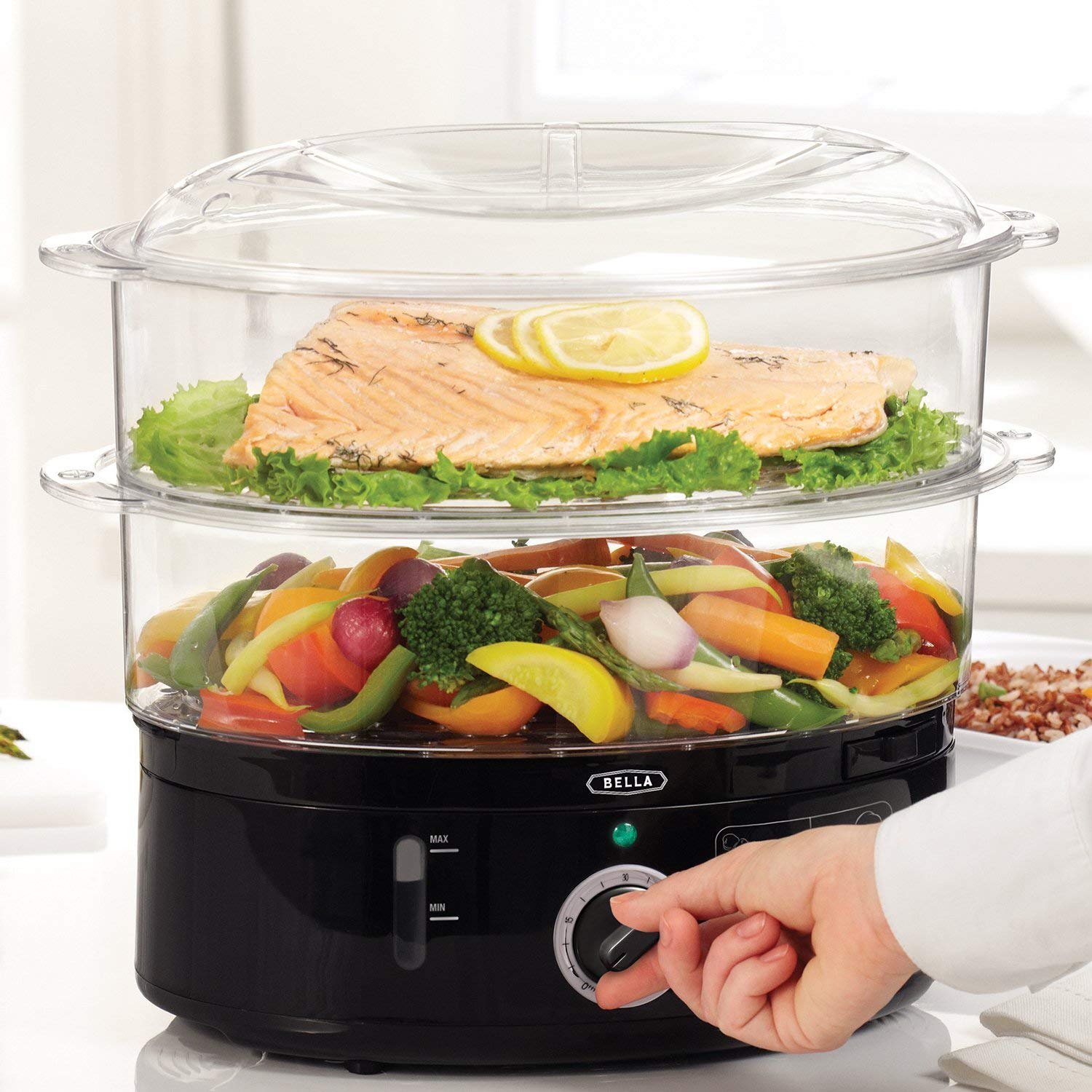 BELLA (13872) 7.4 Quart 2-Tier Stackable Baskets Healthy Food Steamer with Rice & Grains Tray