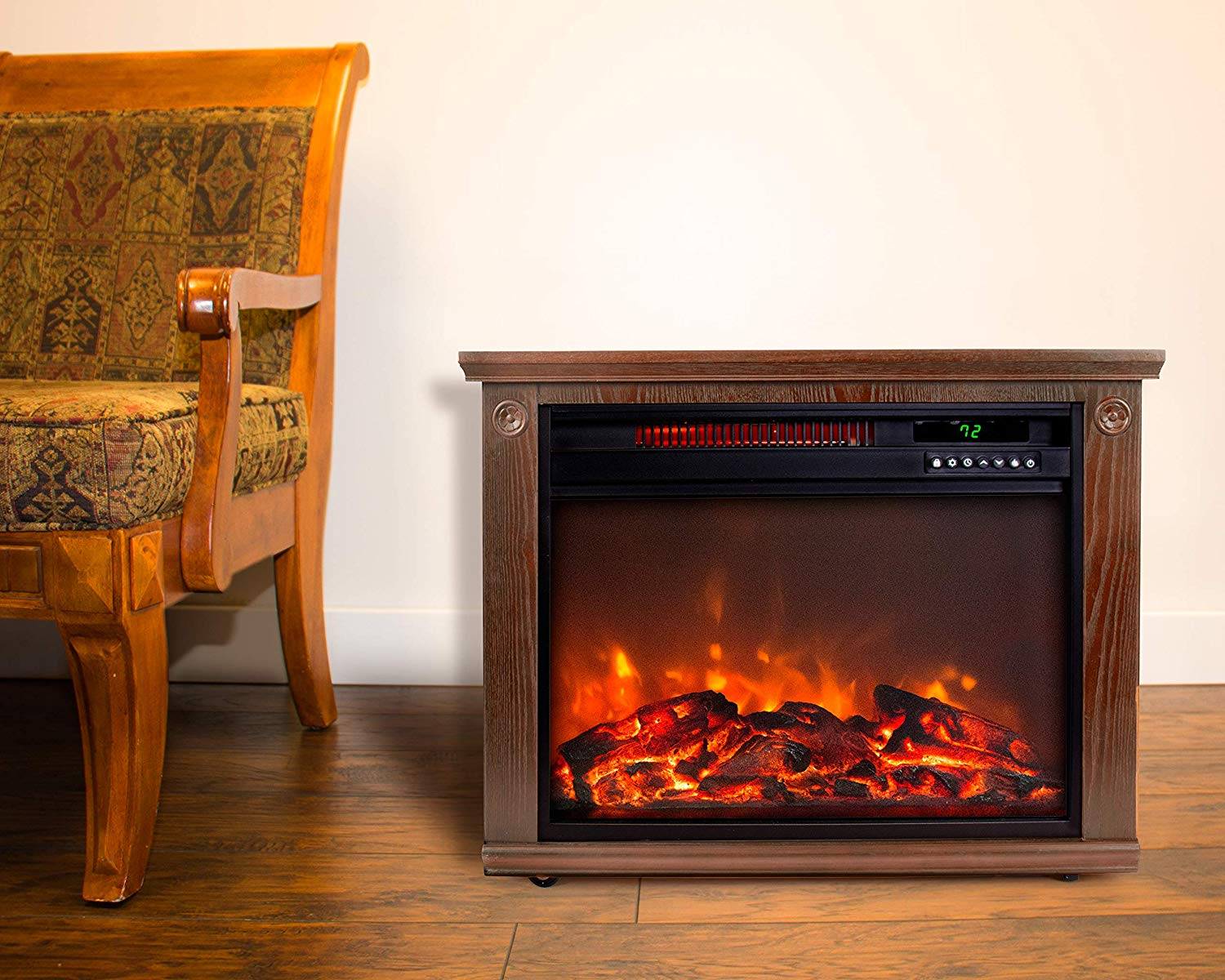 Lifesmart Large Room Infrared Quartz Fireplace in Burnished Oak Finish - Best Electric FirePlaces
