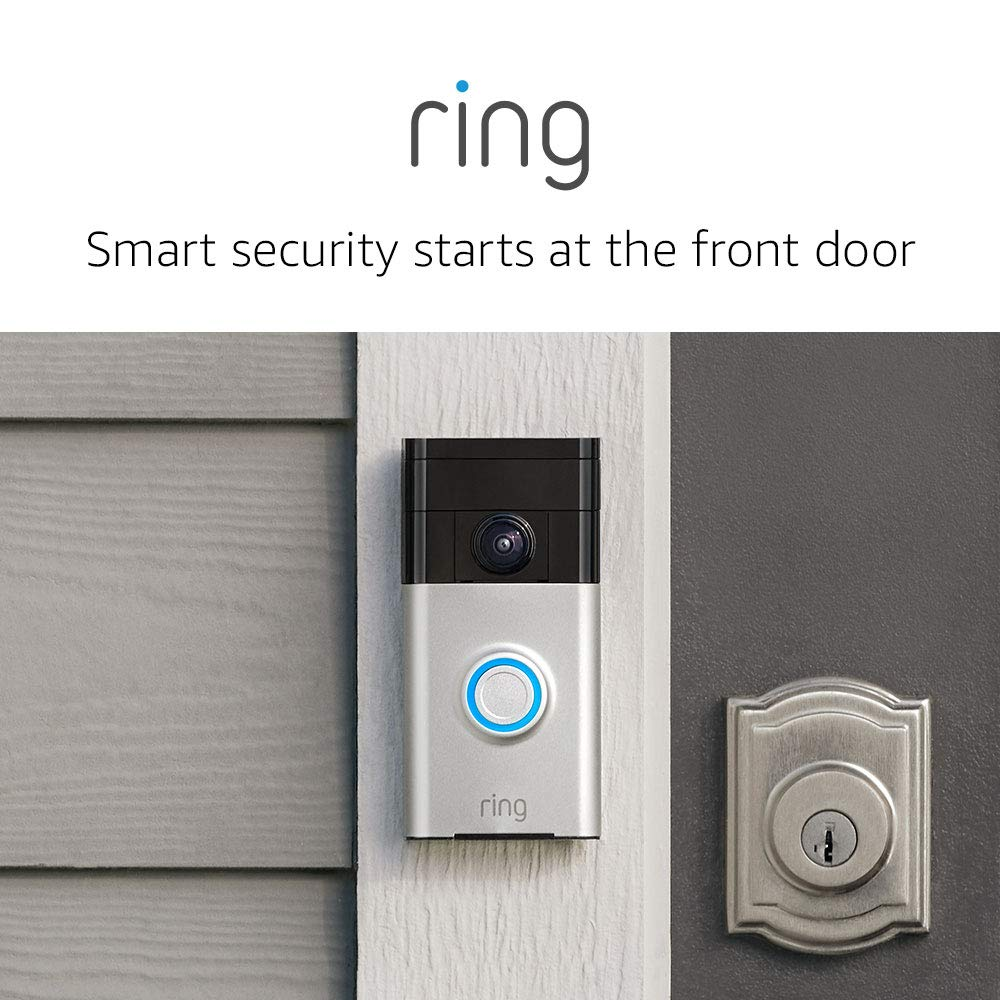 Ring Wi-Fi Enabled Video Doorbell in Satin Nickel, Works with Alexa - Amazon Prime Day