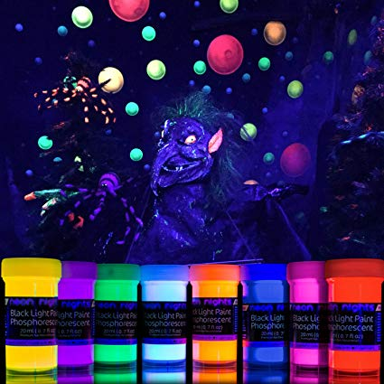 Neon Glow Paint Set with UV Black Light Reflective Wall Paint | Glow in the dark paint