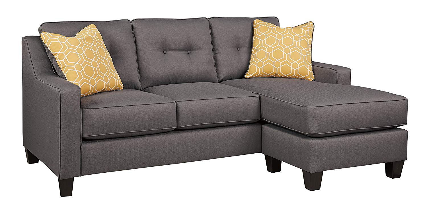 Benchcraft - Aldie Nuvella Contemporary Sofa Chaise Sleeper - Queen Size Mattress Included - Gray