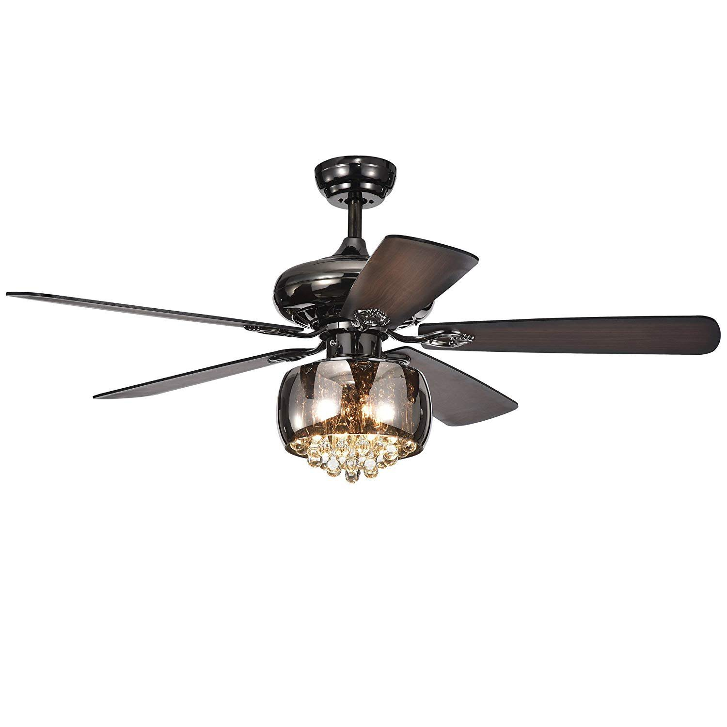 RainierLight 52 inch Modern Crystal Ceiling Fan