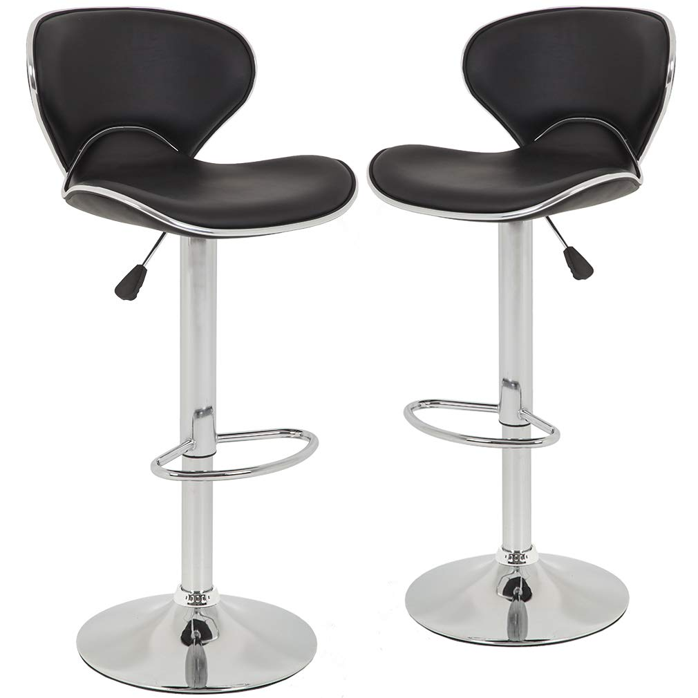 BestOffice Height Adjustable PU Leather Bar Stool | low back bar stools