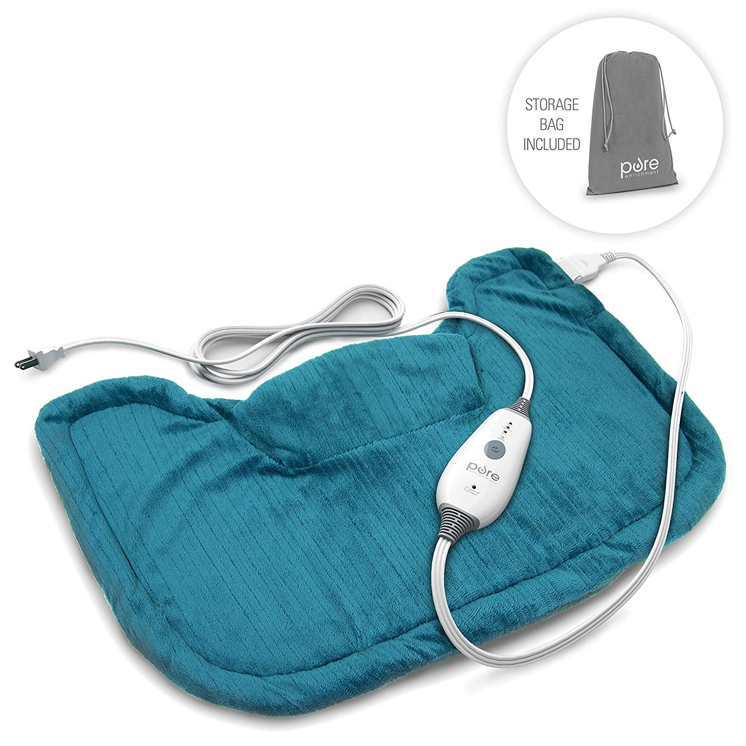Pure Enrichment PureRelief Neck and Shoulder Heating Pad (Turquoise Blue) - Fast-Heating Technology with Magnetic Neck Closure, 4 Heat Settings, Moist Heat Therapy...