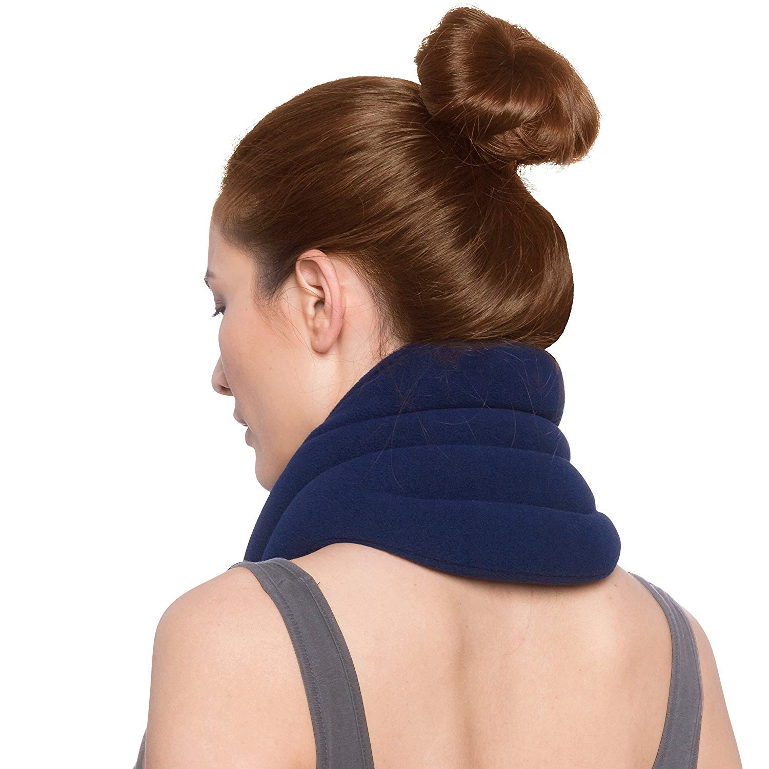Sunny Bay Hands-Free Neck Heating Wrap: Microwavable Thermal Hot Pack, Heat Therapy Neck Brace for Sore Neck Shoulder Muscle Pain Relief - Personal, Reusable, Blue