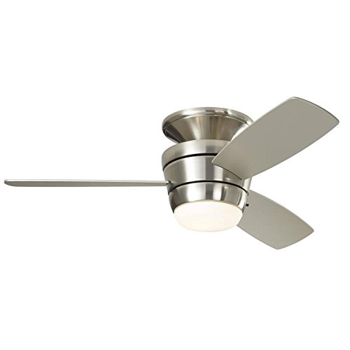 Harbor Breeze Mazon 44-in Brushed Nickel Flush Mount Indoor Ceiling Fan