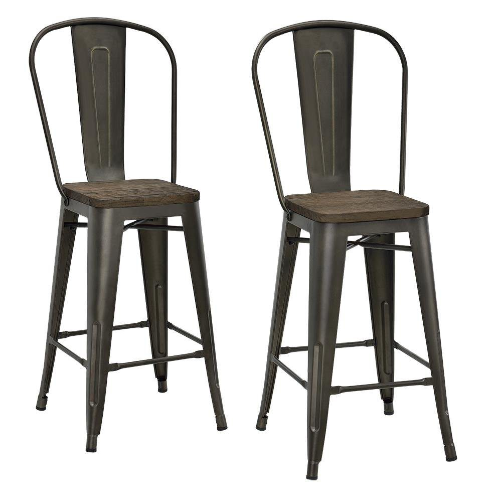 DHP P Luxor Metal Counter Stool with Wood Seat and Backrest Copper