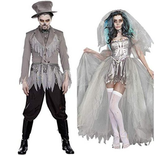 BlueSpace Halloweeen Costumes for Men and Women Vampire Cosplay Suit Set for Couples Pretend Play Dress Up Clothes - Couple Halloween costumes