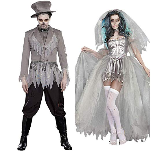 BlueSpace Halloweeen Costumes for Men and Women Vampire Cosplay Suit Set for Couples Pretend Play Dress Up Clothes for Adults Party Night - Couple Halloween costumes