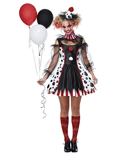 California Costumes Women's Twisted Clown Adult Woman Costume, Black/White/red, Medium - Women Halloween costumes