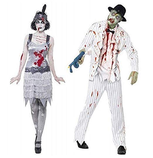 Couples Fancy Dress Zombie Ghost White Pinstripe Gangster Flapper Ghost Mobster 1920's 20's Halloween Costumes Party Outfits (Ladies UK 16-18 & Mens Medium) - Couple Halloween costumes