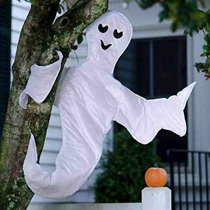 Evergreen Flag Peek A Boo Ghost Halloween Decorations - 5 x 1 x 40 Inches