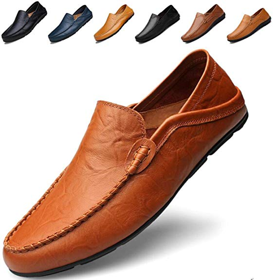 Go Tour Men's Premium Genuine Leather Casual Slip On Loafers Breathable Driving Shoes Fashion Slipper Brown 46 - Casual Shoes for Men