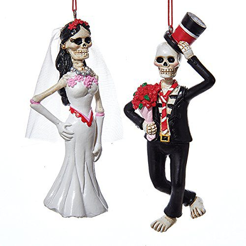 Kurt Adler 1 Assorted Day of Dead Bride And Groom Halloween Ornaments