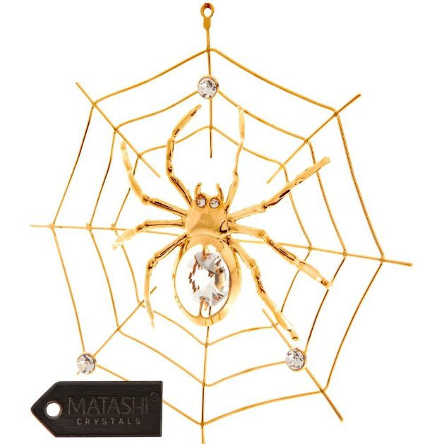 24K Gold Plated Crystal Spider