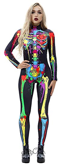 JomeDesign Womens 3D Skeleton Halloween Costumes Cosplay Jumpsuit Bodysuit Colorful Skull Large - Cheap Halloween costumes