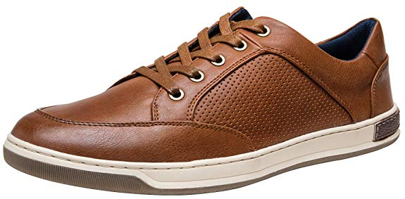 JOUSEN Men's Fashion Sneakers Lightweight Casual Shoes Business Dress Sneaker (11,Brown)