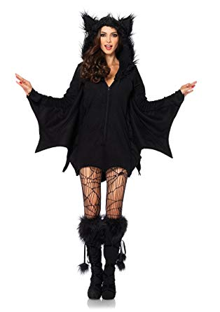 Leg Avenue Women's Cozy Black Bat Halloween Costume, Large - Women Halloween costumes