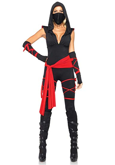 Leg Avenue Women's Deadly Ninja Costume, Black/Red, Small, Black/Red, Size Small - Women Halloween costumes