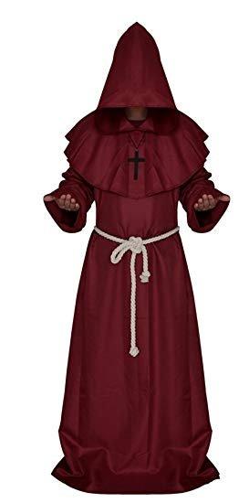 Medieval Monk Robe Cosplay Halloween Hooded Cape Costume Cloak Red Large - Cheap Halloween costumes