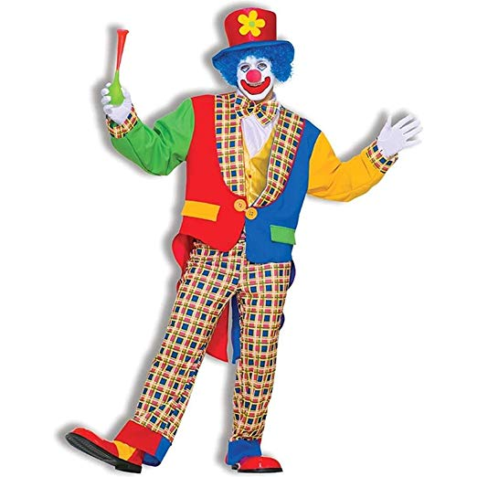 Men's Clown On The Town Costume, Blue/Red, One Size - Cheap Halloween costumes