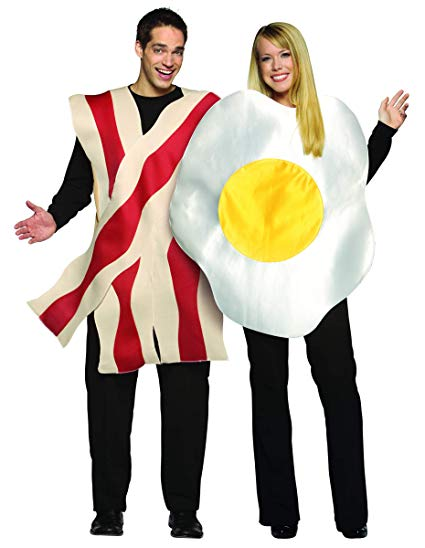 Rasta Imposta Bacon and Eggs Couples Costume, White/Brown, One Size - Couple Halloween costumes