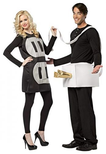 Rasta Imposta Lightweight Plug and Socket Couples Costume, Black/White- Couple Halloween costumes