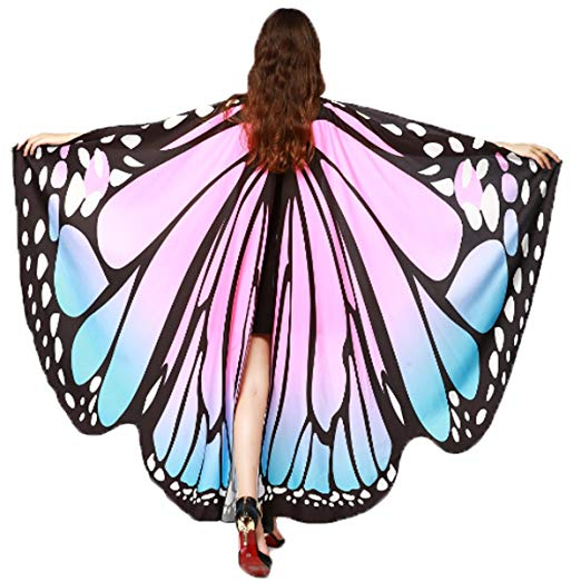 Soft Fabric Butterfly Wings Shawl Fairy Ladies Nymph Pixie Costume Accessory (Blue Pink) - Cheap Halloween costumes