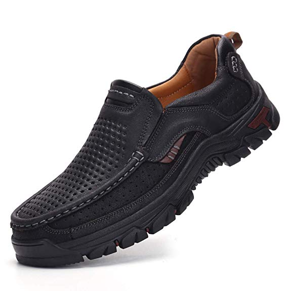 TAIGEL Mens Slip On Loafers Leather Lightweight Casual Walking Shoes - casual shoes for men